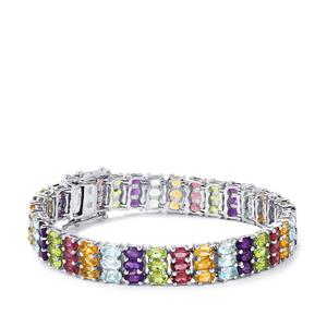 Kaleidoscope Gemstones Bracelet in Sterling Silver 25.68cts