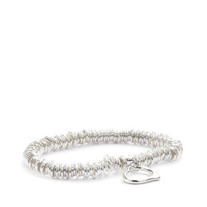 Sterling Silver Altro Rings with Heart Elastic Bracelet 30.40g
