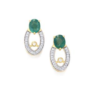 Grandidierite Earrings with Diamond in 18K Gold 1.46cts