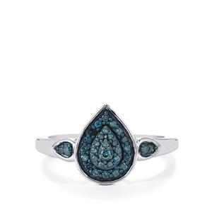 Blue Diamond Ring in Sterling Silver 0.27ct