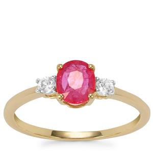 Montepuez Ruby Ring with White Zircon in 9K Gold 1.04cts