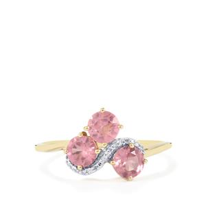 Mozambique Pink Spinel Ring with Diamond in 10k Gold 1.21cts
