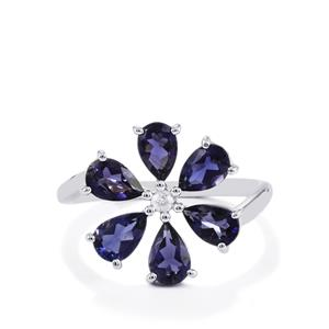 Bengal Iolite Ring with Ratanakiri Zircon in Sterling Silver 1.96cts