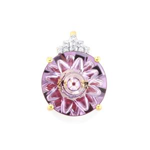 Lehrer KaleidosCut Rose Topaz, Cruzeiro Rubellite Pendant with Diamond in 10K Gold 4.72cts