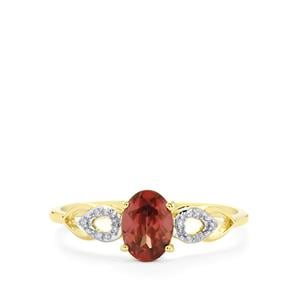 Zanzibar Zircon Ring with Diamond in 10k Gold 1.26cts