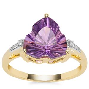 Lehrer Infinity Cut Ametista Amethyst Ring with Diamond in 9K Gold 2.93cts