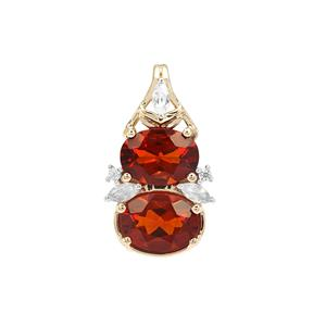 Madeira Citrine Pendant with White Zircon in 9K Gold 1.38cts