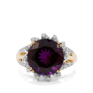 Moroccan Amethyst Ring with Diamond in 18K Gold 5.37cts