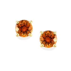 Zanzibar Sunburst Zircon Earrings in 10k Gold 2.56cts