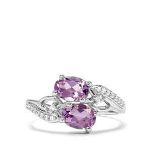 Moroccan Amethyst & White Zircon Sterling Silver Ring ATGW 1.56cts