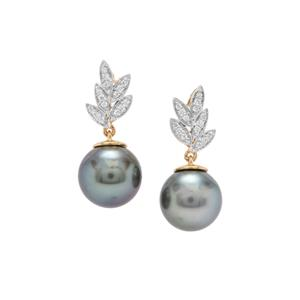 Tahitian Cultured Pearl Earrings with Diamond in 18K Gold (11x12mm)