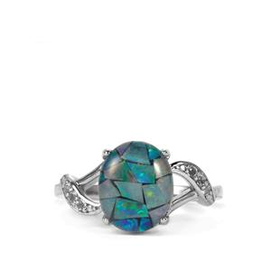 Mosaic Opal & White Topaz Sterling Silver Ring