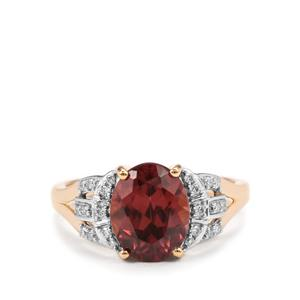 Zanzibar Zircon Ring with Diamond in 18k Gold 4.33cts