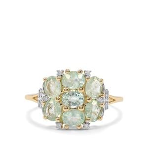 Paraiba Tourmaline & Diamond 10K Gold Ring ATGW 1.63cts
