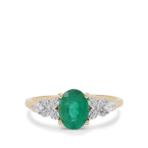 Zambian Emerald Ring with White Zircon in 9k Gold 1.30cts