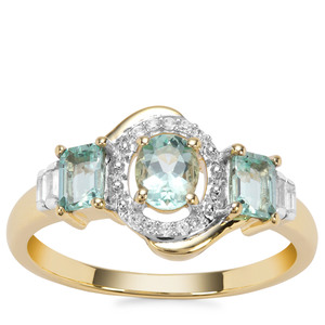 Aquaiba™ Beryl Ring with White Zircon in 9K Gold 0.84cts