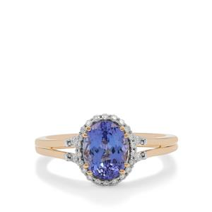 AAA Tanzanite Ring with Diamond in 18K Gold 1.85cts