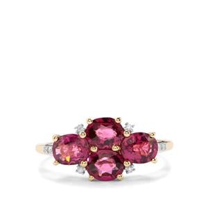 Comeria Garnet & Diamond 10K Gold Ring ATGW 2.52cts