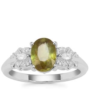 Ambilobe Sphene Ring with White Zircon in Sterling Silver 1.50cts
