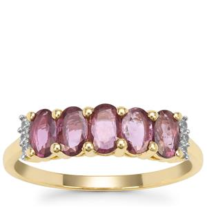 Thai Ruby Ring with White Zircon in 9K Gold 1.25cts