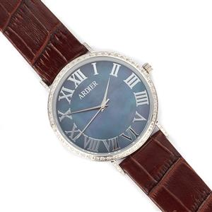 Diamond and Mother of Pearl Stainless Steel Watch with Burgundy Leather Strap