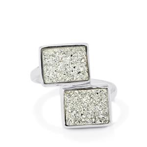6.14ct Silver Drusy Sterling Silver Ring