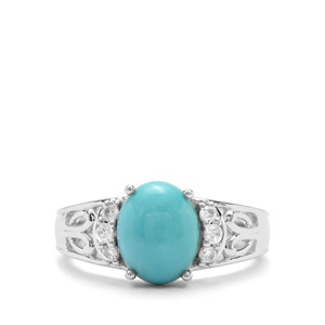 Sleeping Beauty Turquoise & White Zircon Sterling Silver Ring ATGW 3cts