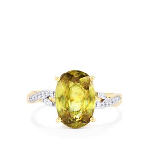 Ambilobe Sphene Ring with Diamond in 18k Gold 4.06cts