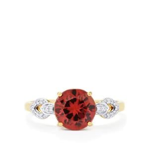 Zanzibar Zircon Ring with Diamond in 14K Gold 3.34cts