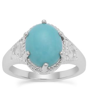 Sleeping Beauty Turquoise Ring in Sterling Silver 2.71cts