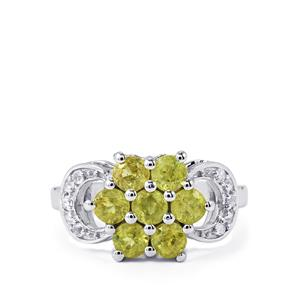 Ambilobe Sphene Ring with White Topaz in Sterling Silver 1.79cts