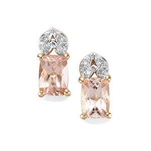 Alto Ligonha Morganite Earrings with Diamond in 9K Gold 1.63cts