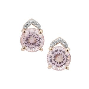 Kolum Kunzite Earrings with Diamond in 9K Gold 3.60cts