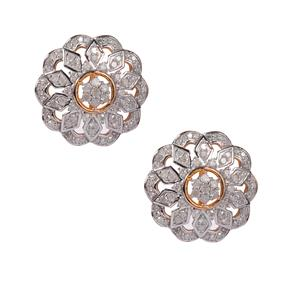 Diamond Earrings in Gold Plated Sterling Silver 1.06cts