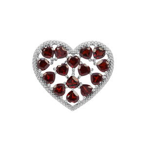Rajasthan Garnet Heart Pendant in Sterling Silver 8.47cts