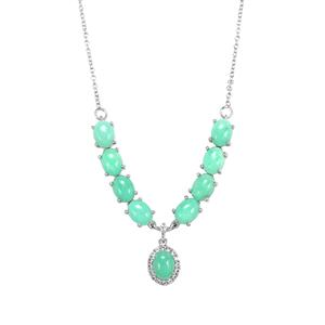 Prase Green Opal Necklace with White Topaz in Sterling Silver 9.30cts