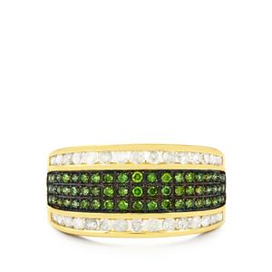 Green Diamond Ring with White Diamond in 10K Gold 1ct
