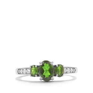Chrome Diopside & White Topaz Sterling Silver Ring ATGW 1.17cts