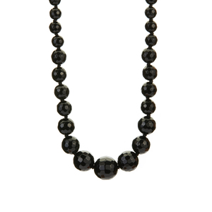 Black Agate Necklace in Rhodium Flash Sterling Silver 233cts