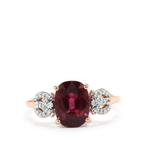 Comeria Garnet Ring with Diamond in 18K Rose Gold 3.08cts