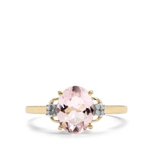 Alto Ligonha Morganite Ring with Diamond in 9K Gold 1.62cts