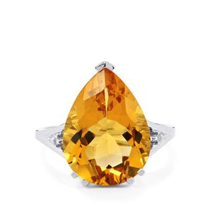 Diamantina Citrine Ring with Diamond in 9K White Gold 7.52cts