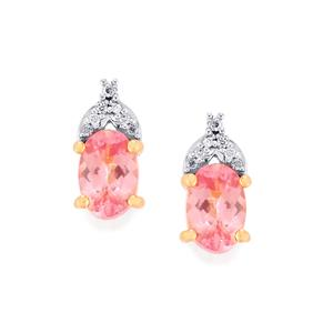 Mozambique Pink Spinel & Diamond 14K Rose Gold Earrings ATGW 0.94cts