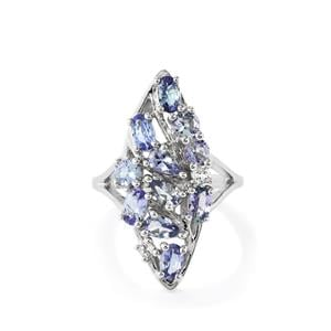 Bi-Colour Tanzanite Ring with White Toapz in Sterling Silver 2.56cts
