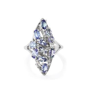 Bi-Color Tanzanite Ring  with White Topaz in Sterling Silver 2.56cts