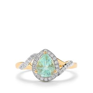 Paraiba Tourmaline Ring with Diamond in 18K Gold 1.27cts