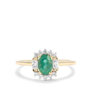 Zambian Emerald & White Zircon 9K Gold Ring ATGW 1.15cts