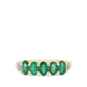 Zambian Emerald Ring with White Zircon in 9K Gold 1.22cts