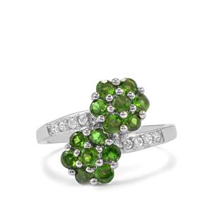 Chrome Diopside Ring with White Zircon in Sterling Silver 1.70cts