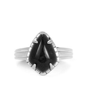 Natural Black Burmese Jade Ring in Sterling Silver 6.72cts